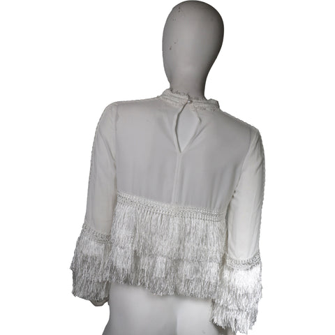 White top with fringes