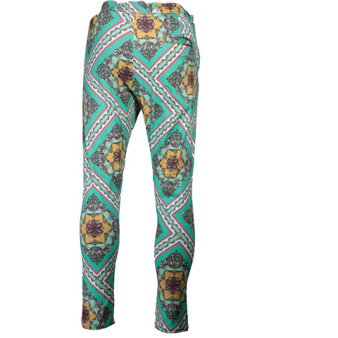 Printed cotton two-zipper fashion pant