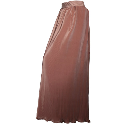 Tan long pleated skirt