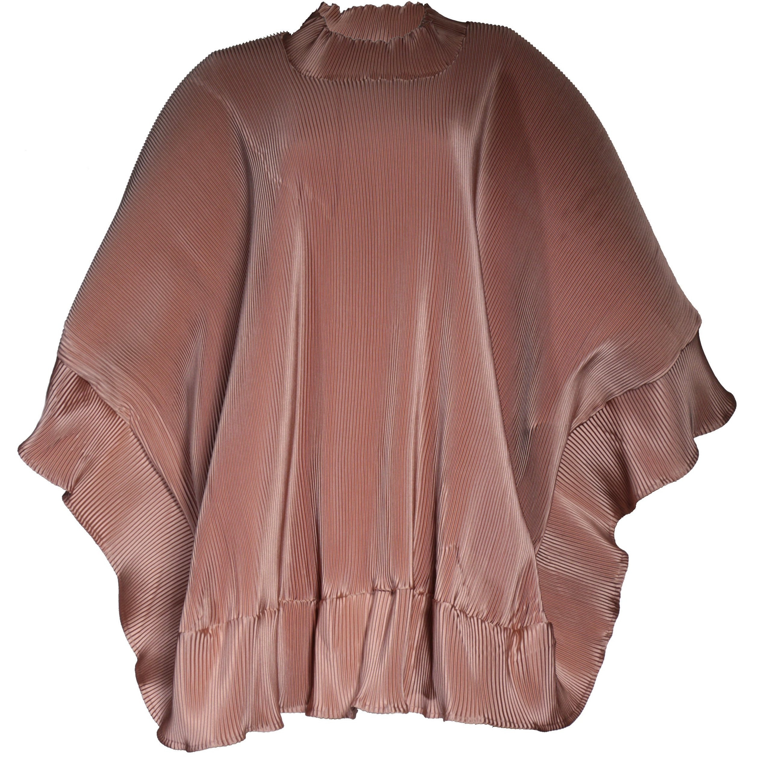 Tan poncho pleated dress
