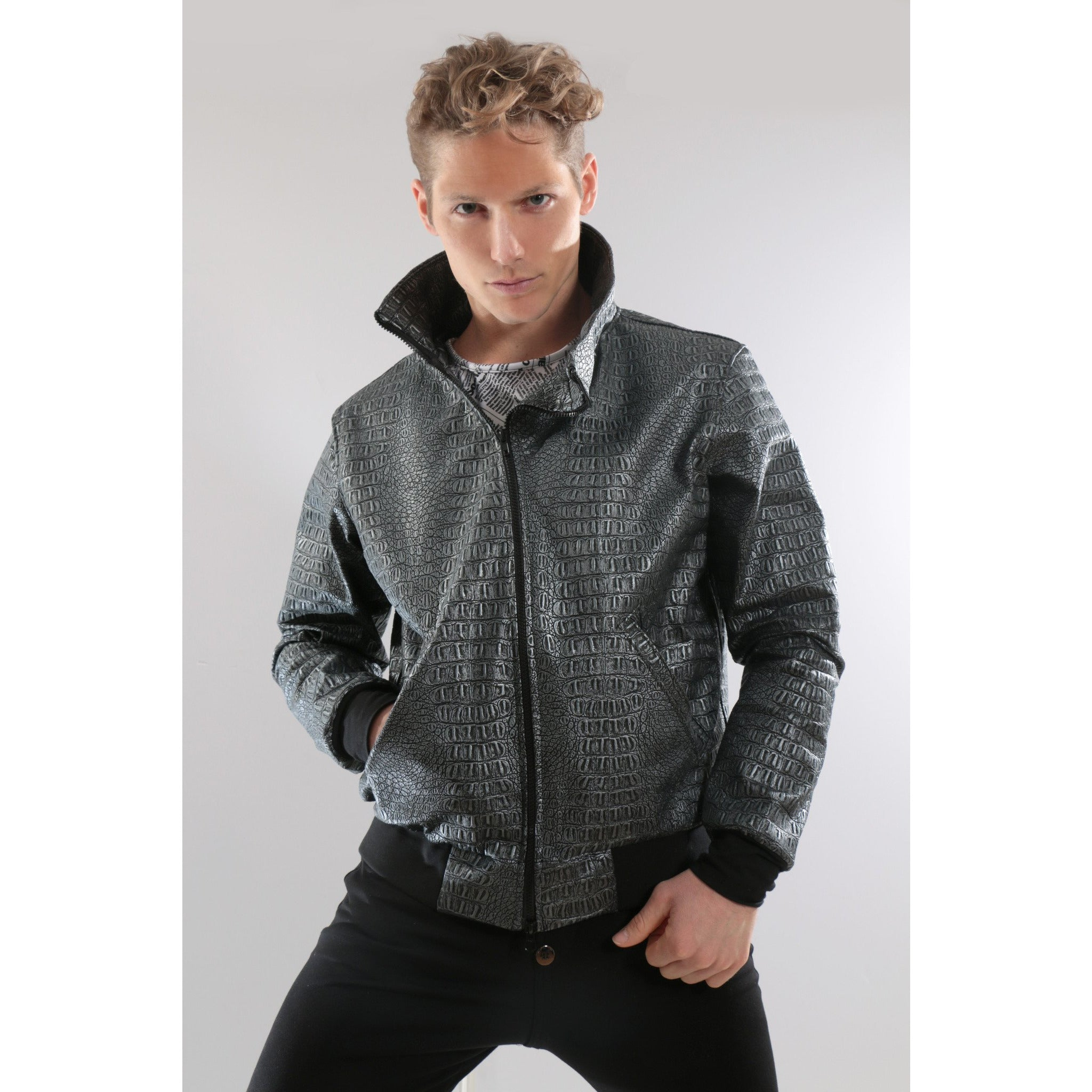 Gray Authentic leather Bomber Jacket