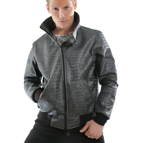 3D Print Gray leather Jacket with texture