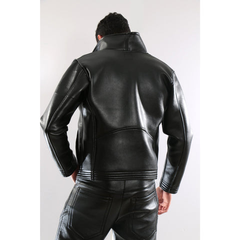 Black Synthetic Leather Jacket