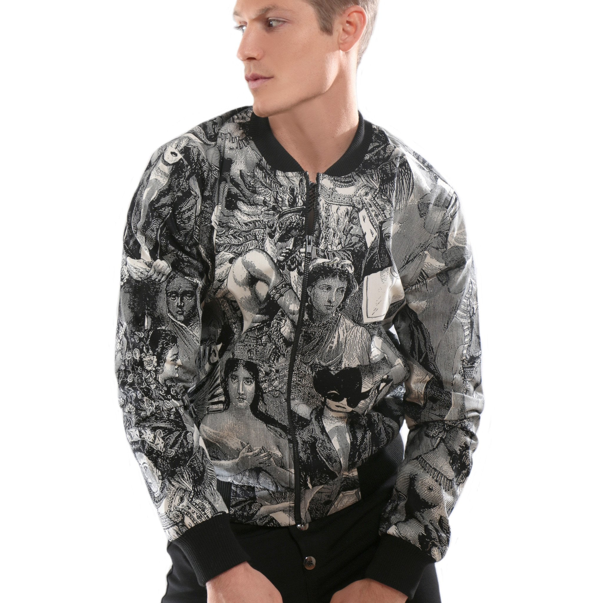 Bomber Jacket with historical image prints