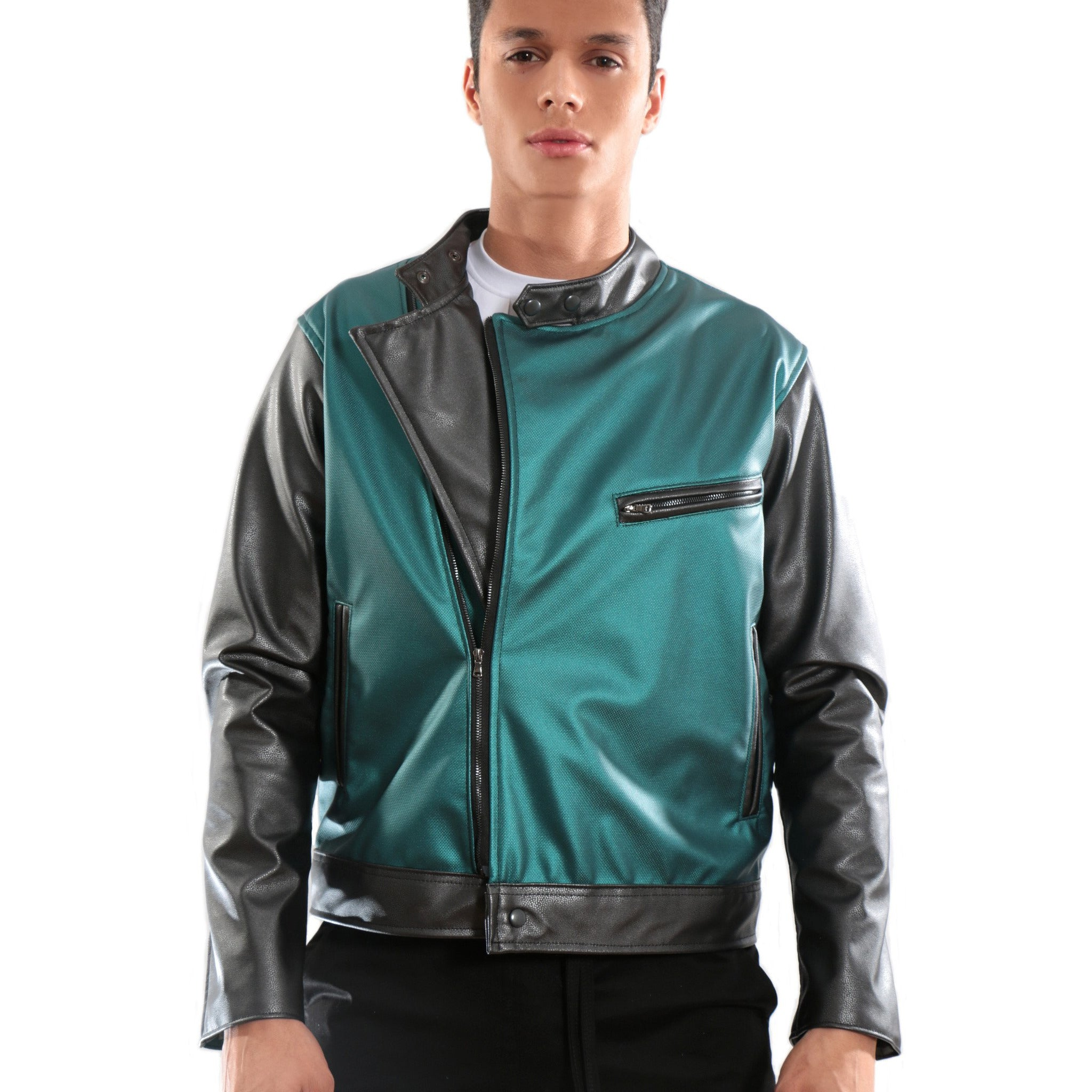 3D Print Green and black leather Jacket – MUSICCI