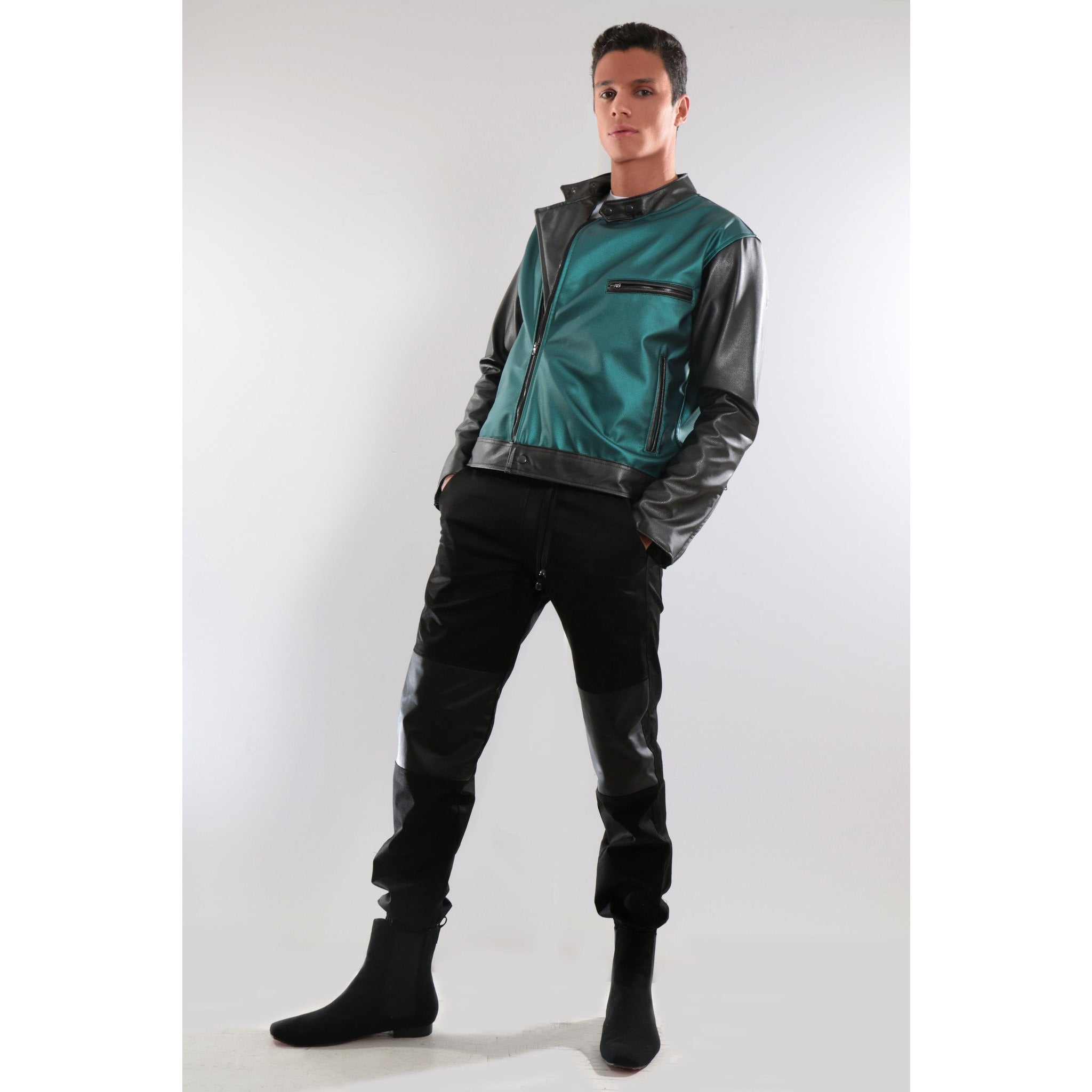Green and black Synthetic leather Jacket