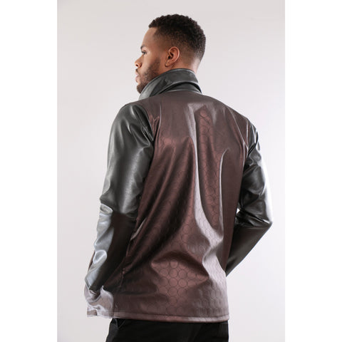 Brown Synthetic leather Jacket with texture