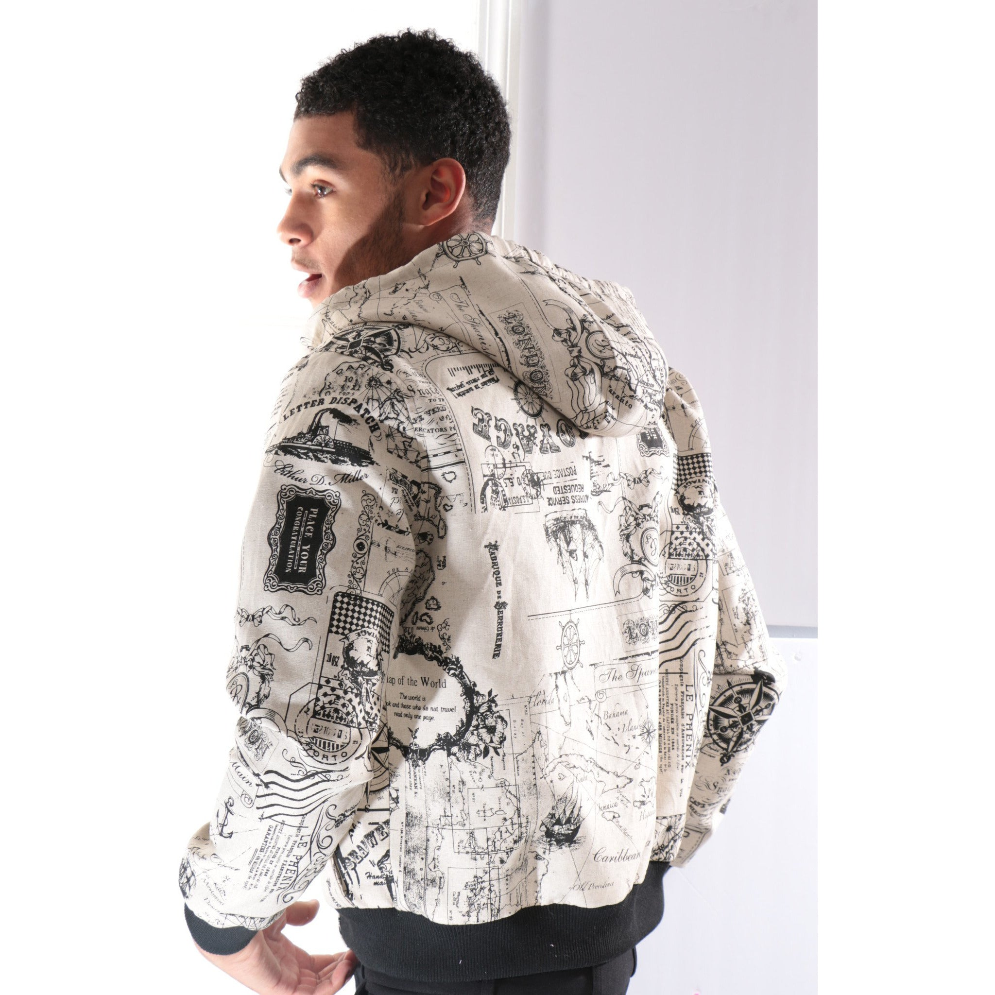 Bomber Jacket with Graphic writings and Hoodie