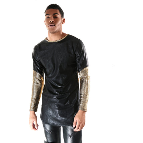 Black Metallic long sleeve with Gold mix