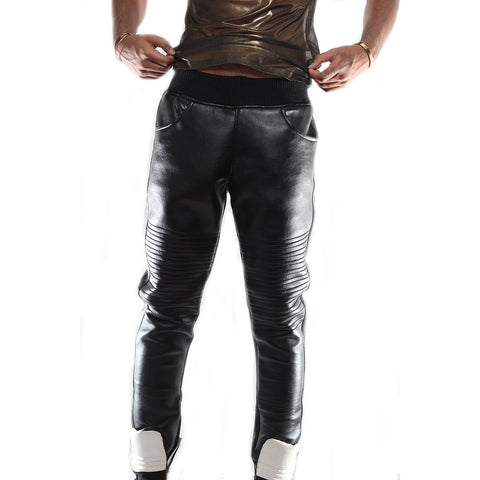 Custom Black leather trouser with waist band