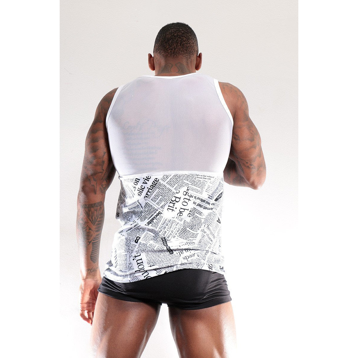 Tank top with Mesh and Graphic Writings