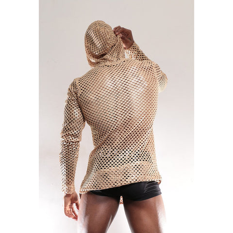 Stretchy Gold Mesh Top with Hoodie
