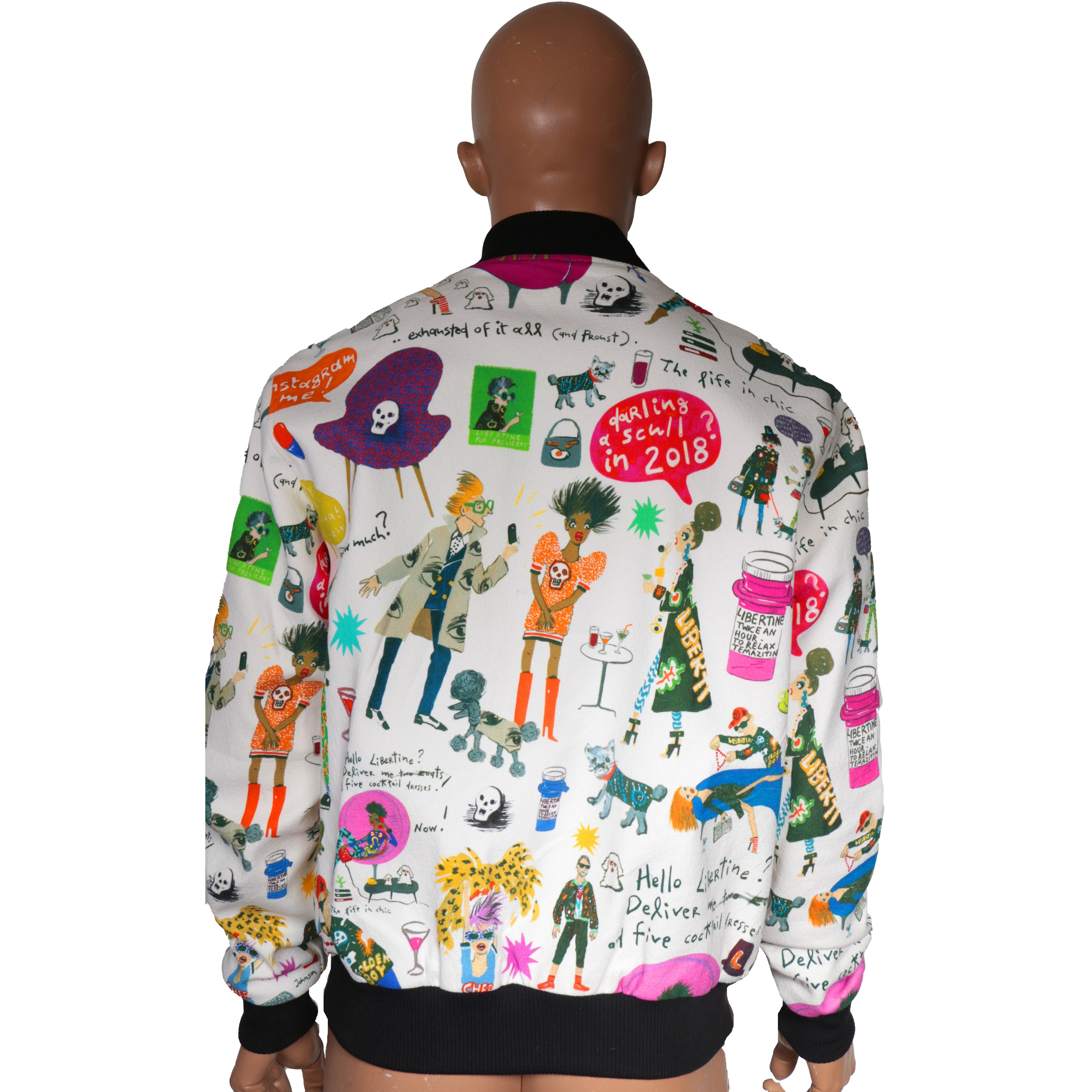Bomber Jacket with Libertine prints