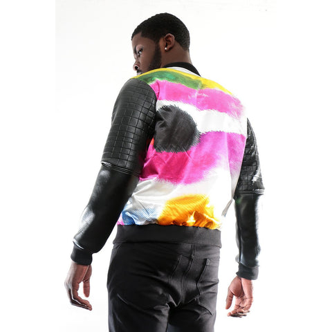 Bomber Jacket with Color patch imprint