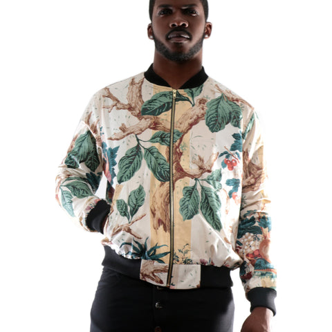 Floral Bomber Jacket with 3D Print II