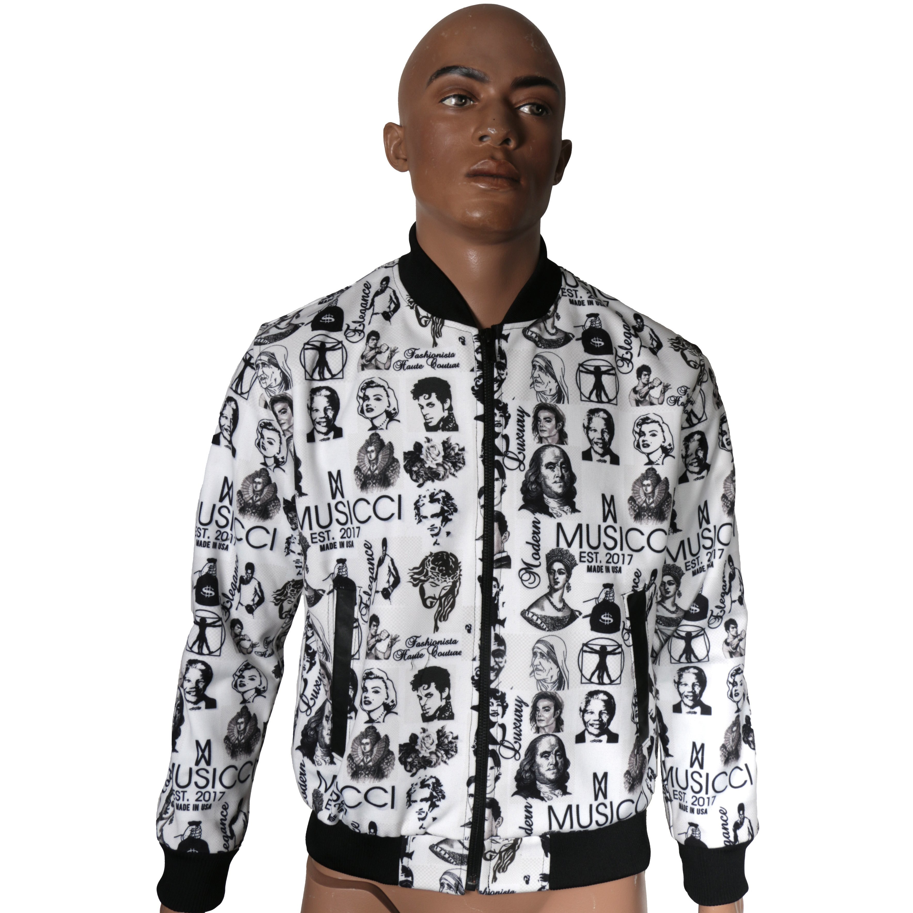 Bomber Jacket with Musicci BW custom prints I