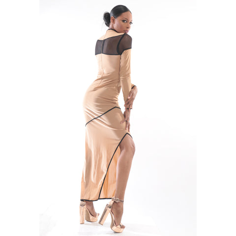Tan gown with black mesh