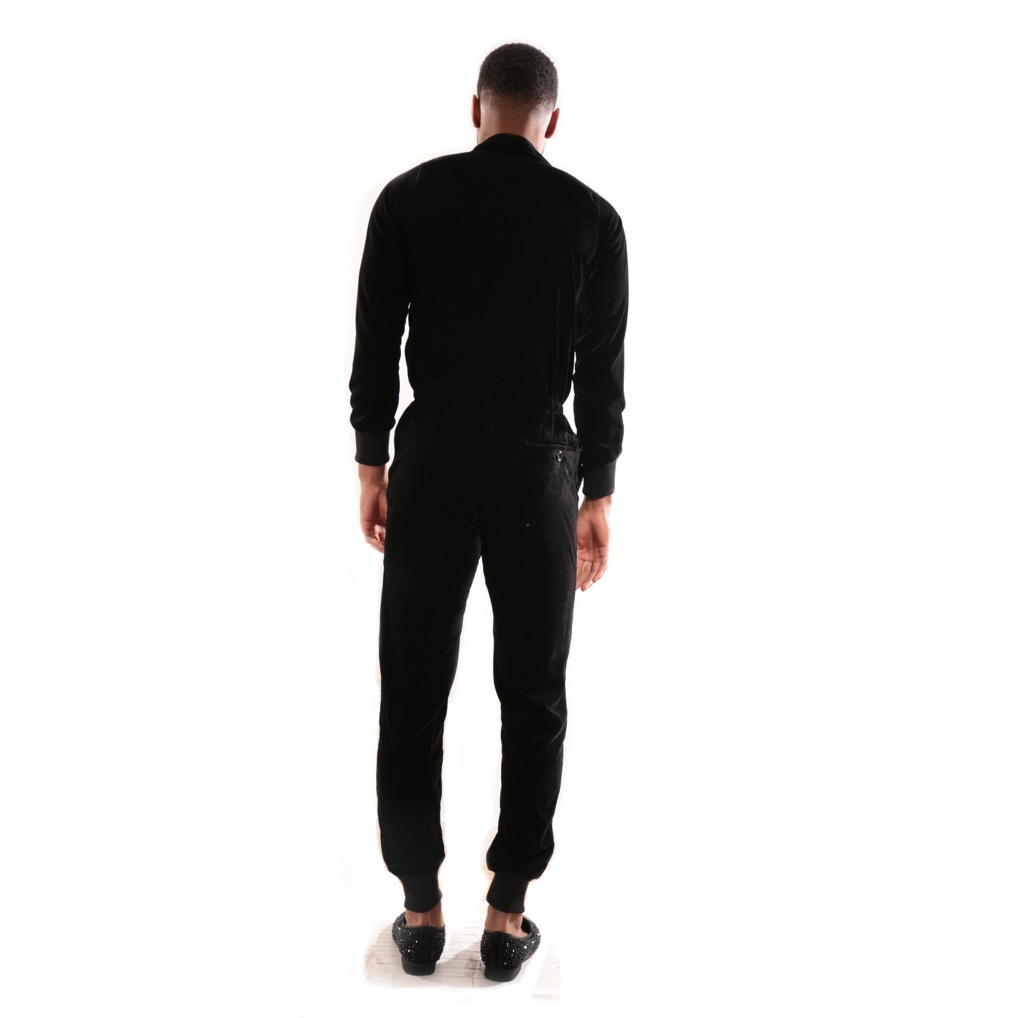Black Velvet jumpsuit with deep V