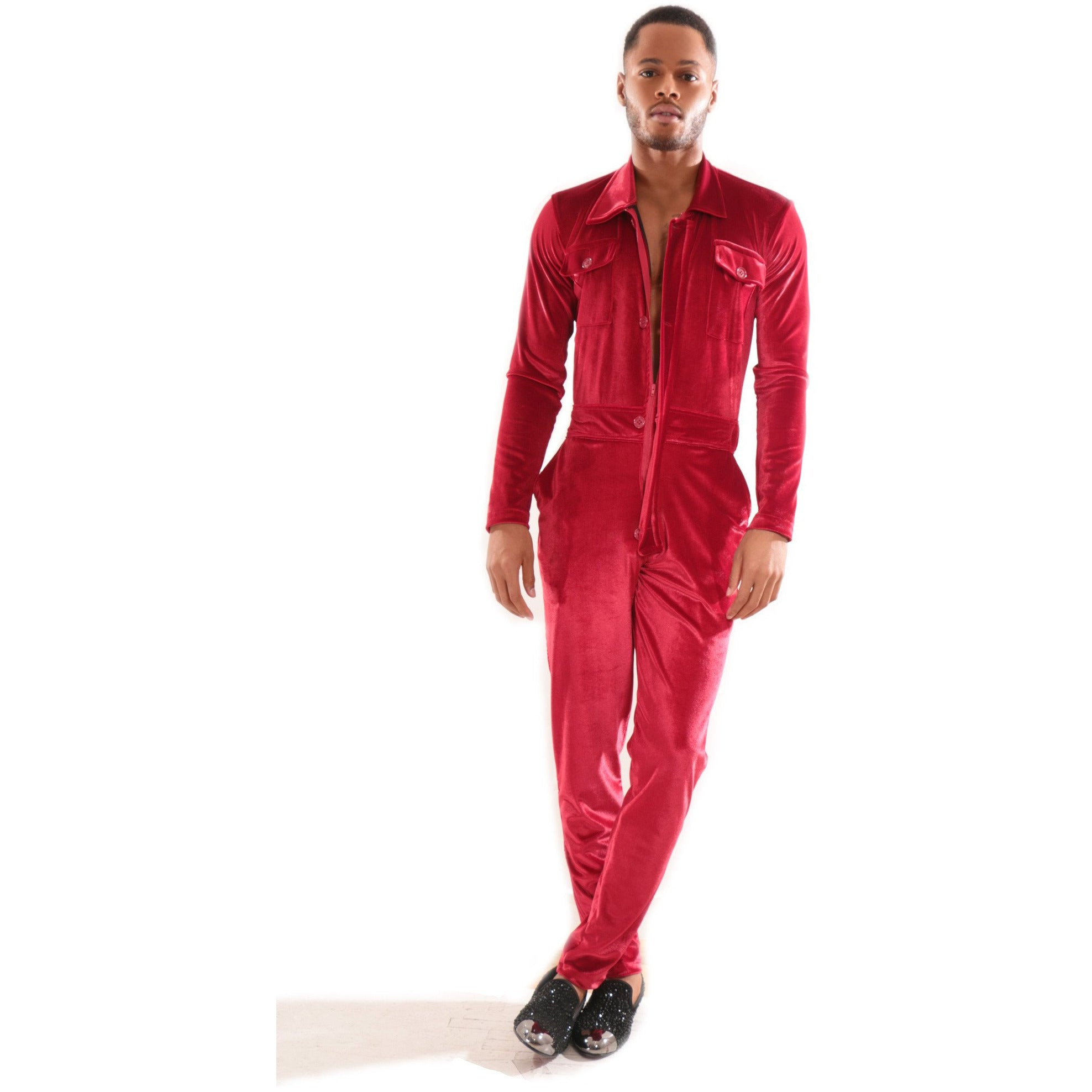 Red Velvet jumpsuit with deep V