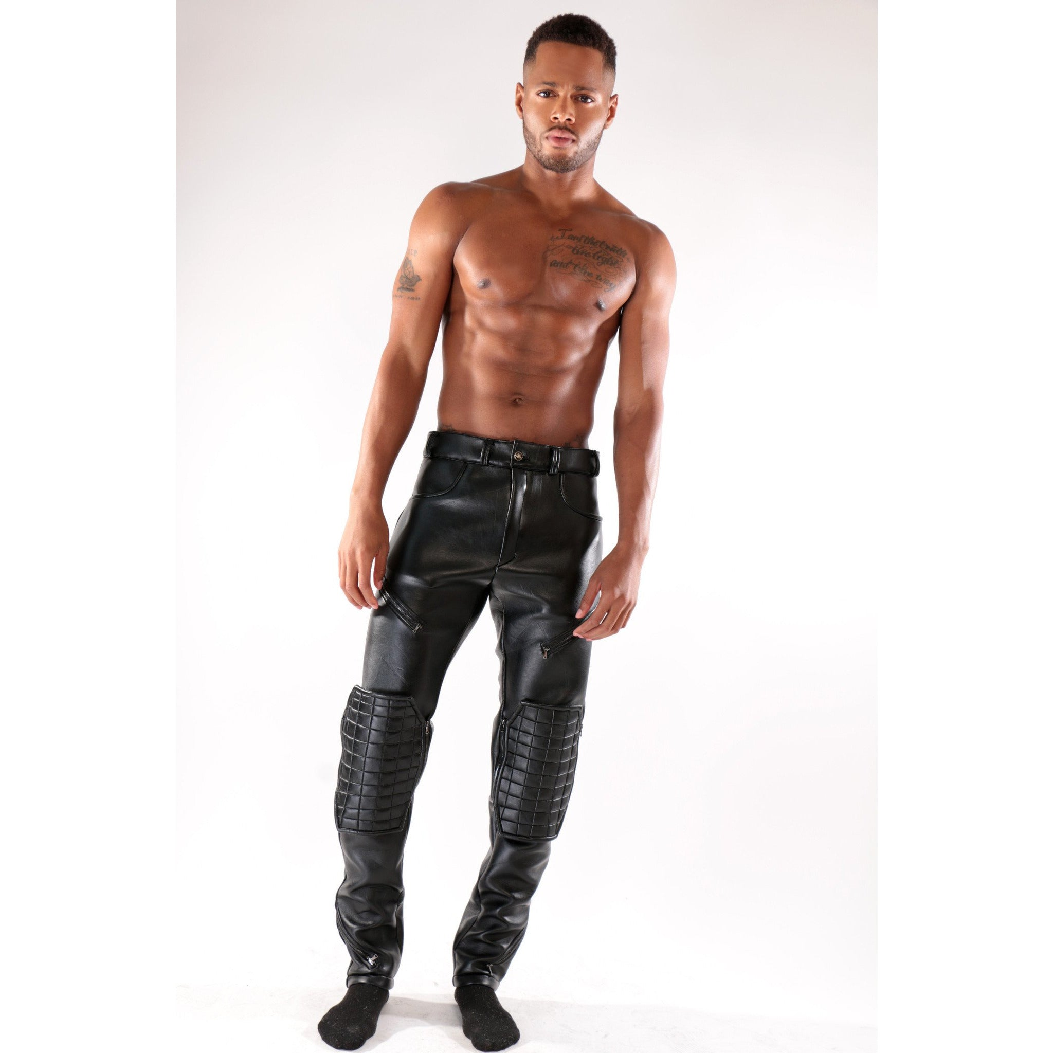 Custom Black leather trouser with removable knee pads