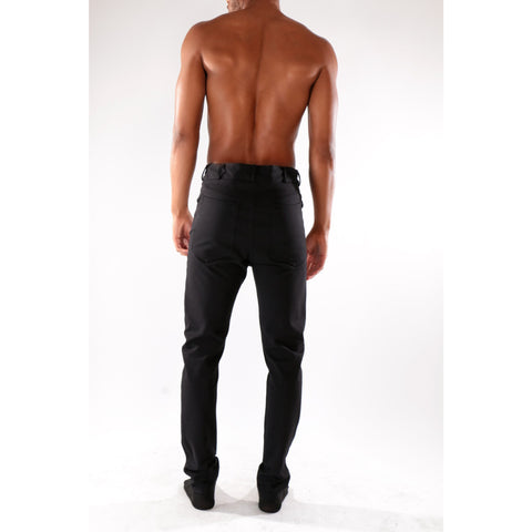 Black high waist fashion trouser with stretch