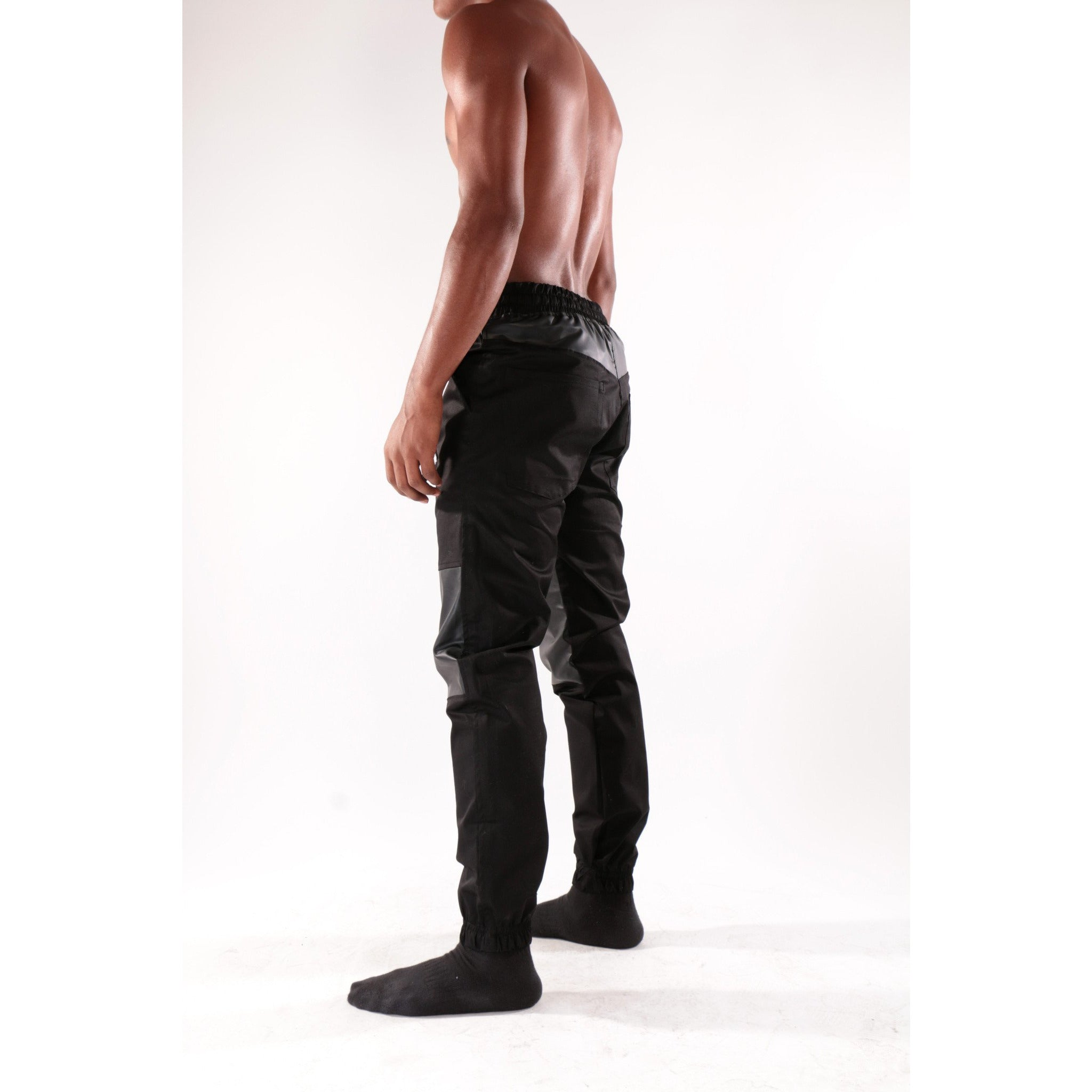 Black high waist fashion trouser with mixed leather