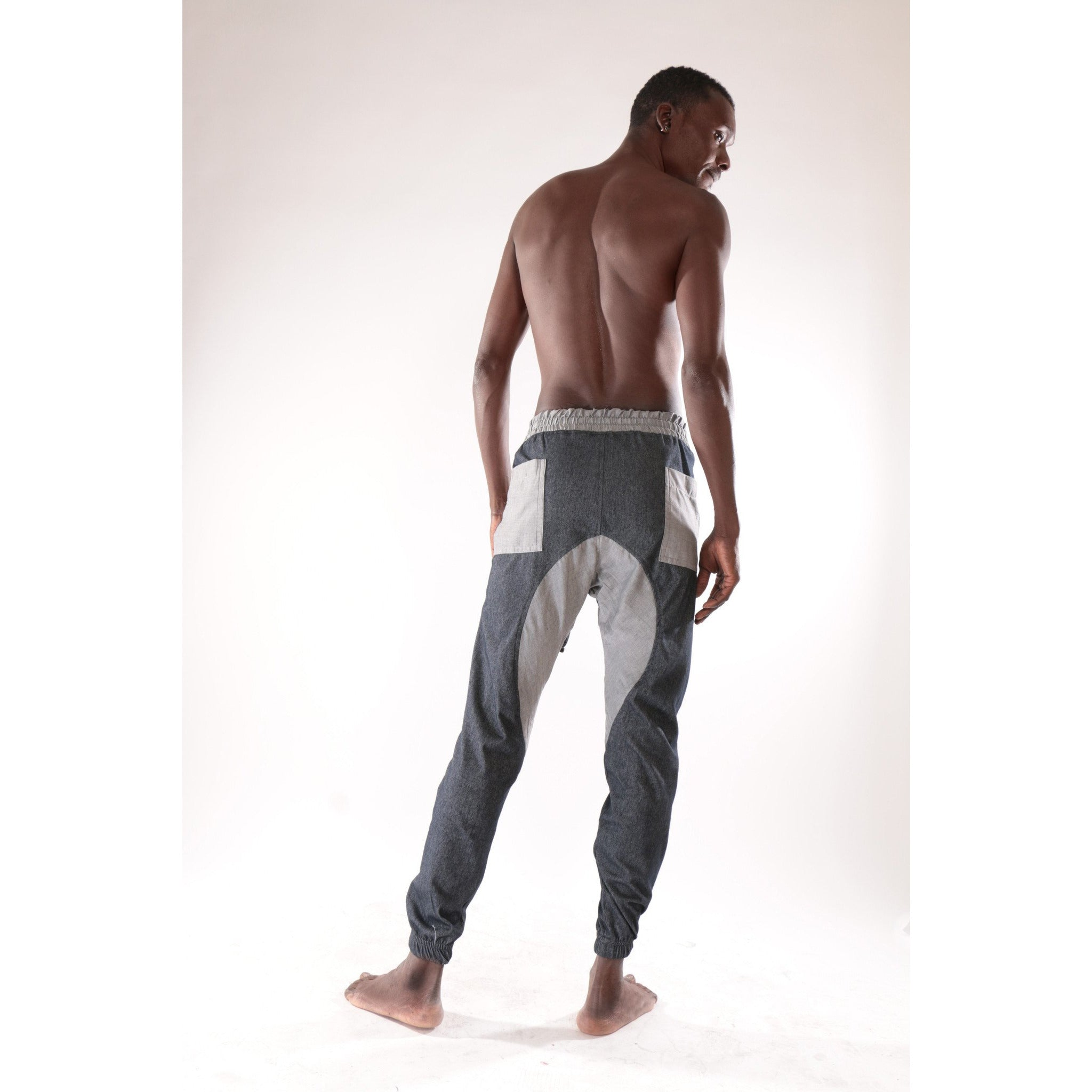 Classic fashion harem trouser with grey and blue pattern