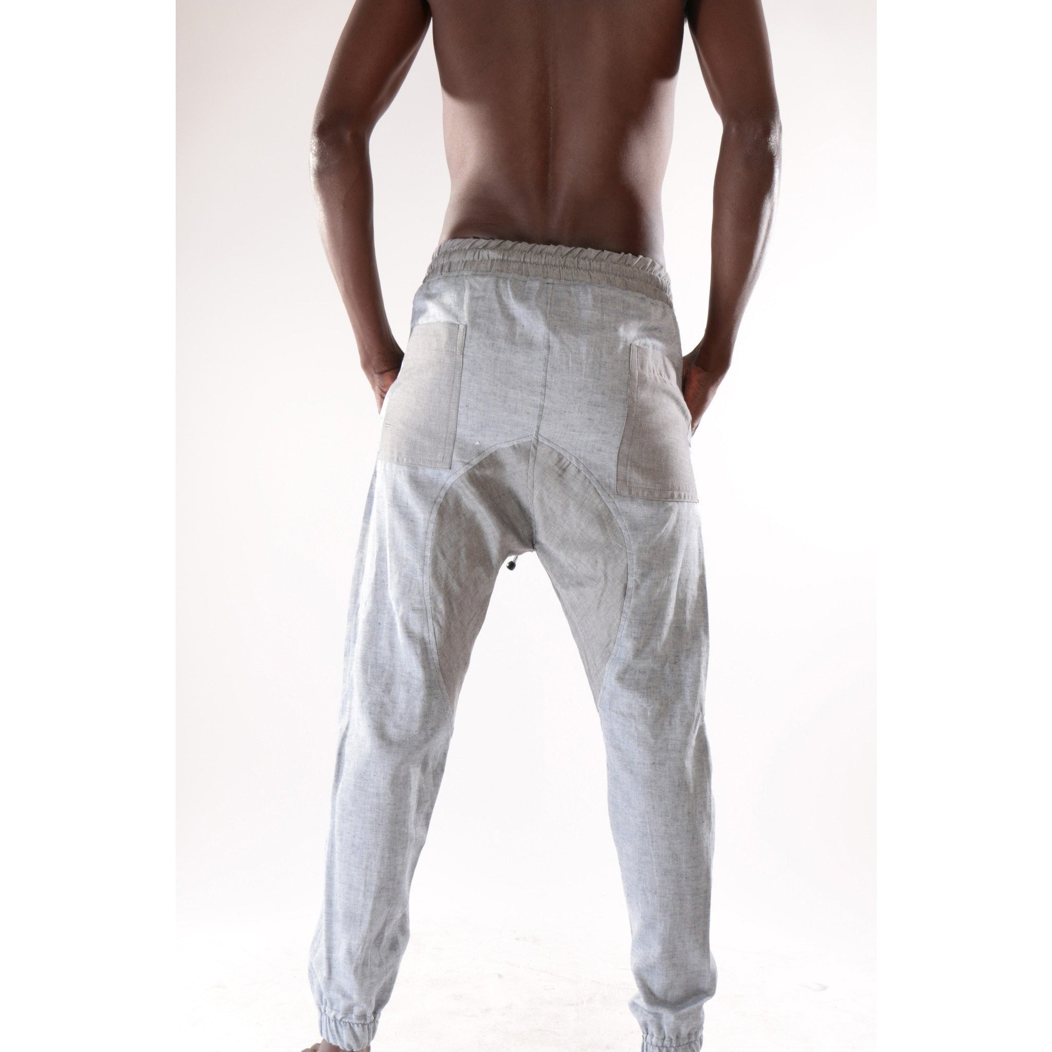 Classic fashion harem pant with grey and sky blue pattern