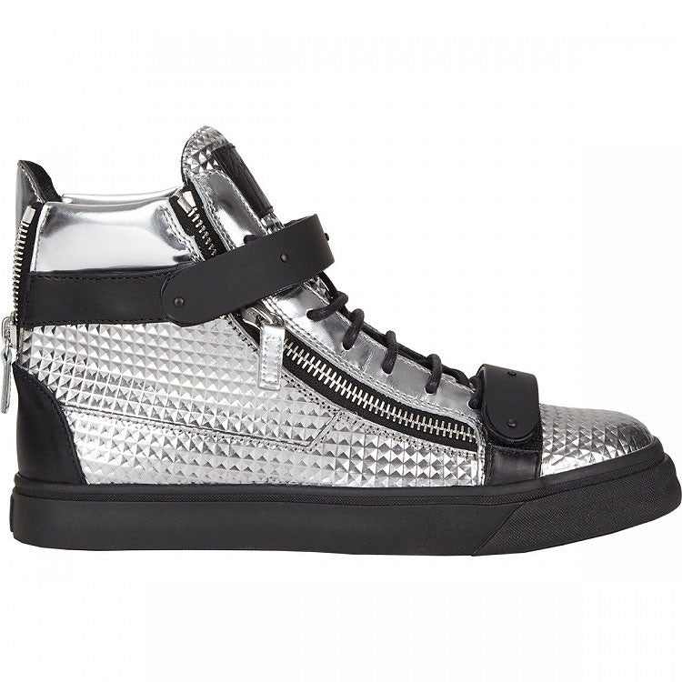 Silver Black High Quality leather sneaker