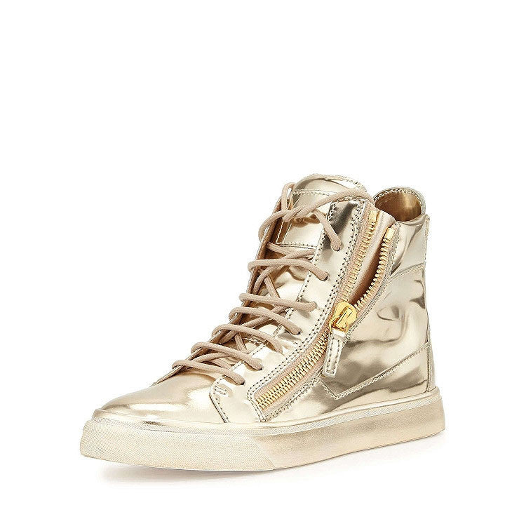 Shinny Gold High Quality leather sneaker