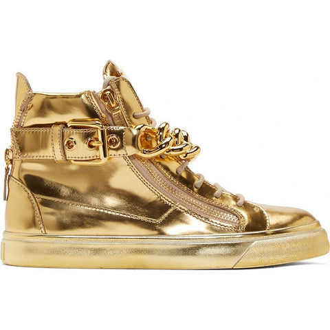 Gold leather sneaker with Chain
