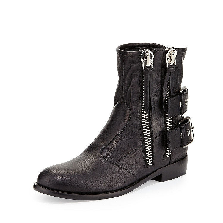 Black High top leather Boot with zippers and buckles