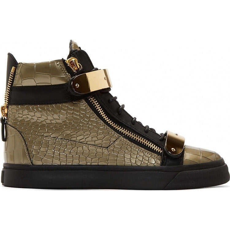 Gold mixed with black leather sneaker with texture