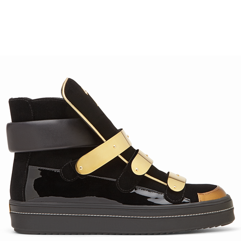 Black and Gold leather mixed with suede sneaker