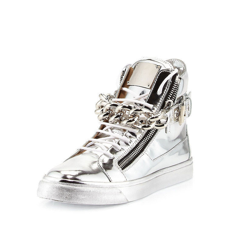 Silver high quality leather with zipper