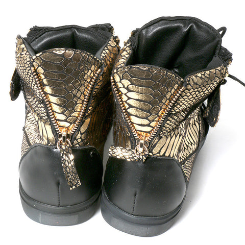 Black and Gold leather sneaker with texture