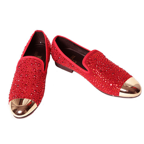 Red Rhinestone studded dress shoe