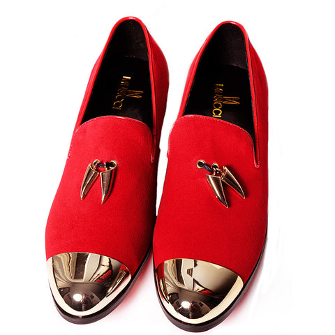 Red suede and gold top dress shoe