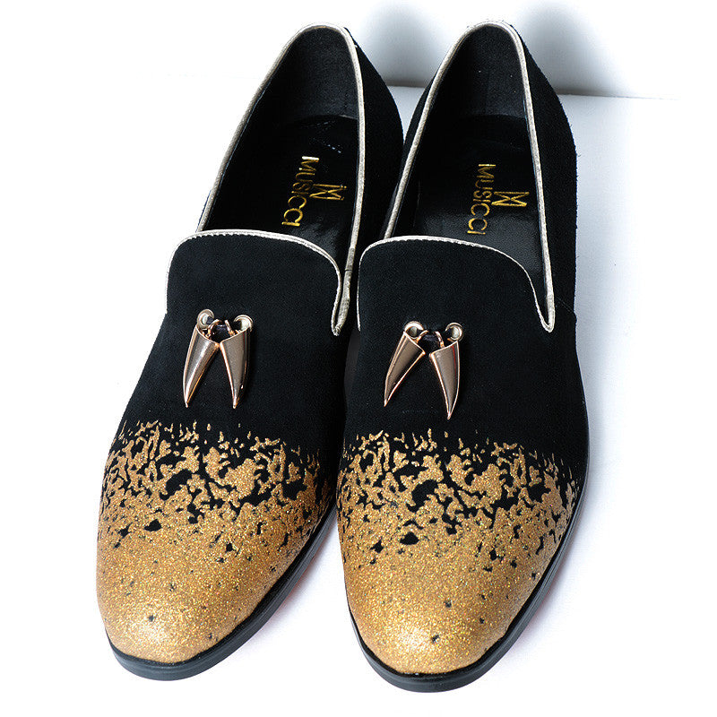 Black and gold suede  dress shoe