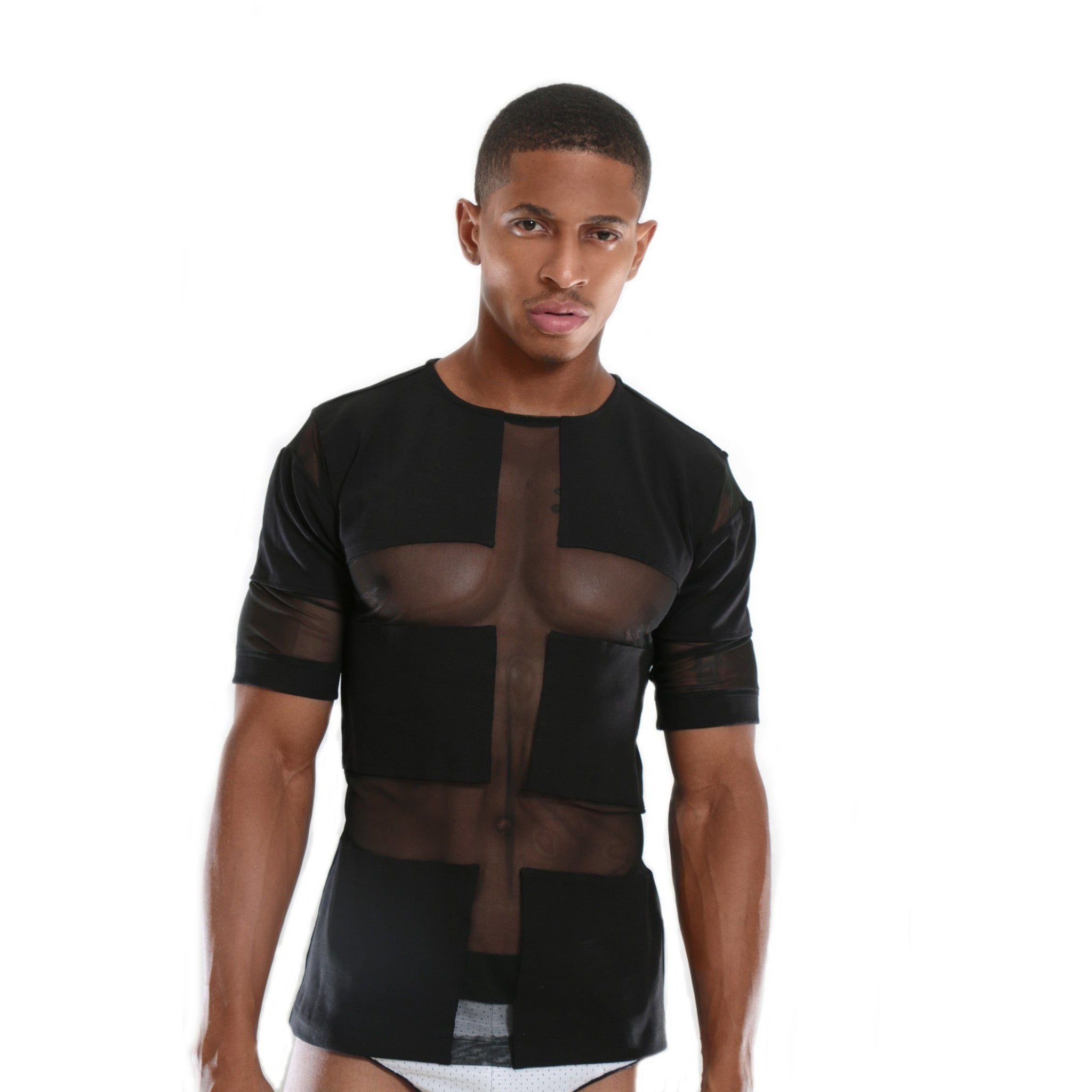 High quality Luxury T-shirt with see through mesh