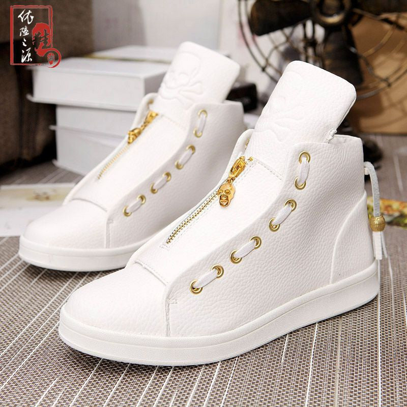 Leather sneaker with gold zipper
