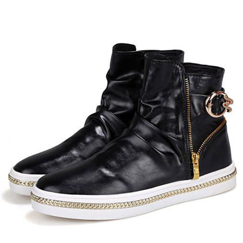 Leather high-top with stylish zipper