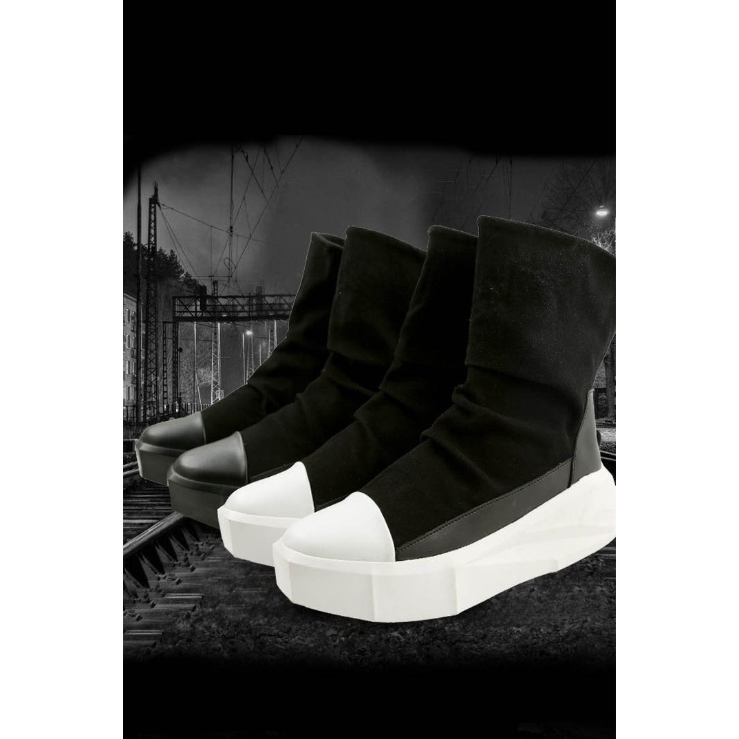 Modern structured sole Velvet high top