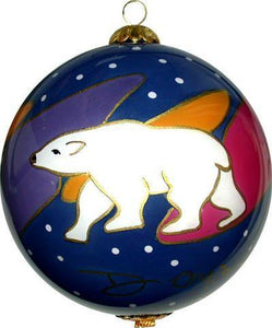 'Snow Bear' Dawn Oman Glass Ornament