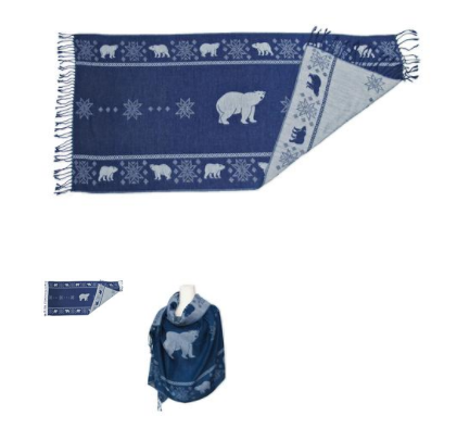 Polar Bear Reversible Woven Shawl