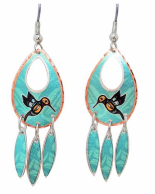 'Hummingbird' Collection Copper Earrings