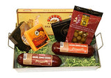Summer Sausage & Wisconsin Cheese Gift Basket with Klement's Meat & Cheddar and Smoked Gouda Cheeses