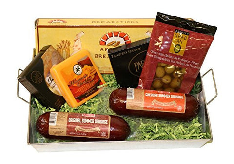 ... Summer Sausage & Wisconsin Cheese Gift Basket with Klement's Meat & Cheddar and Smoked Gouda Cheeses ...