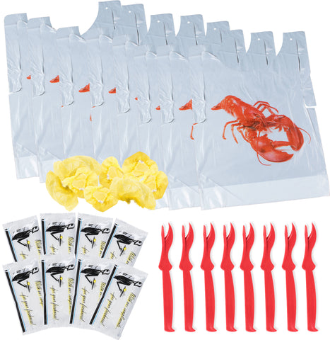 Seafood Party Kit Lobster Bibs, Seafood Cracker, Hand Towels, and Lemon Juice Filter Nets (Set of 8)