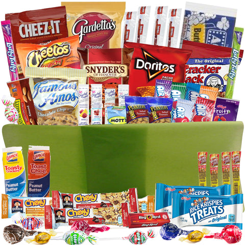 Sweet and Salty Care Package with 52 Snacks in Re-Usable Snap Closing Container
